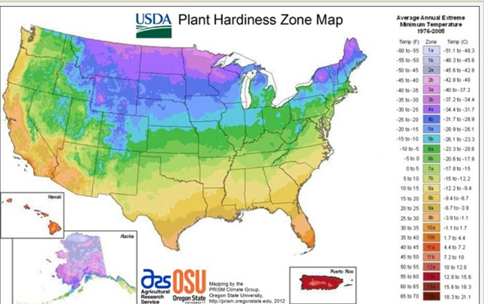 USA Gardening Zones Map