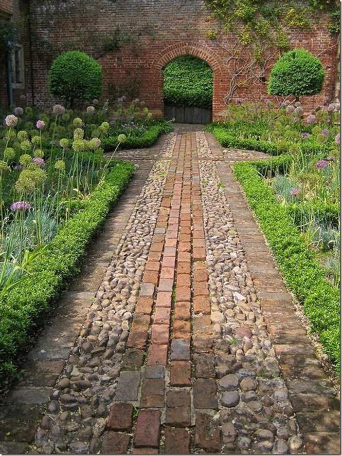 brick and cobblestone garden path