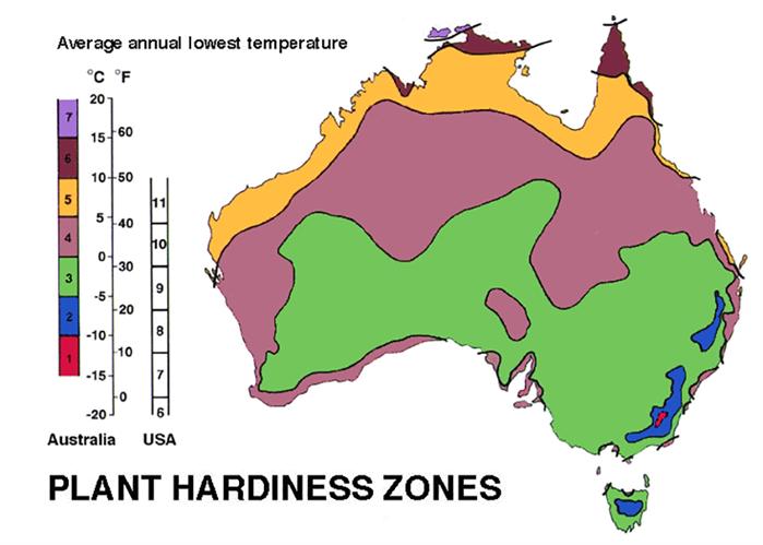 Australia Gardening Zones Map