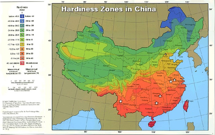 China Gardening Zones Map