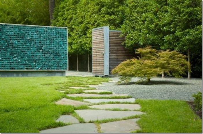 random stone garden path set in lawn